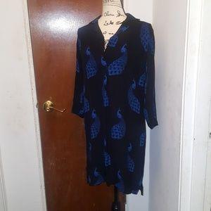 Ann Taylor peacock shirt dress size xs nwot